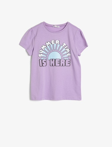 Koton Kids Yazili Baskili T-Shirt Mor